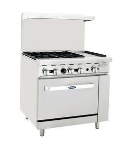 Atosa Cookrite Ato 4b12g 36 inch 4 Burner Heavy Duty Gas Range With 12 inch Rig