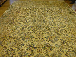 12x16 Hand Knotted Weaved Persian Kerman Oriental Antique Wool Rug Mint Huge