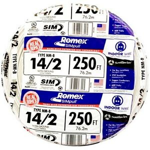 Southwire Romex 250 ft 14 2 600v 14 Awg Non metallic White Wire With Ground