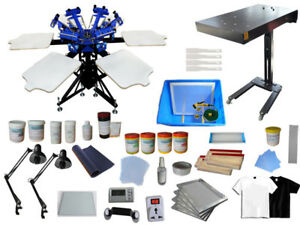 6 Color Screen Printing Kit Double Rotary Press Flash Dryer Exposure