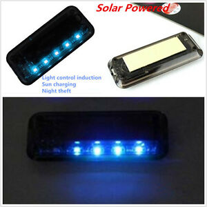 Solar 6led Blue Light Car Alarm Security Flash Anti Theft Burglar Deterrent Lamp