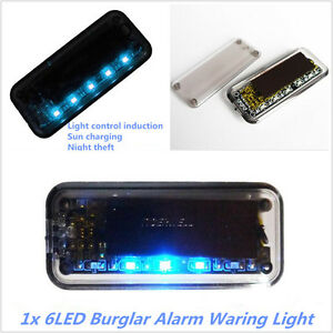 Solar Powered Car Dummy Alarm Warning Anti Theft Flashing Led Burglar Light Blue