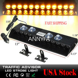 New 12led Flash Strobe Bar Car Dash Police Emergency Warning Light Amber