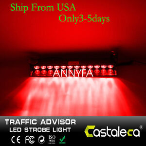 Emergency Warning Strobe Light Bar 12 Led Car Windshield Visor Dash Flashing Red