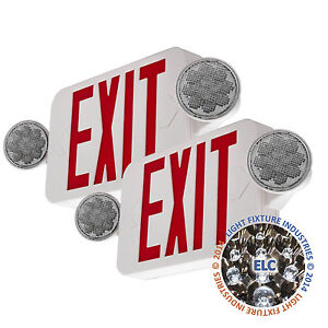 2pack Led Exit Sign Emergency Light Hi Output Red Compact Combo Ul Comborjr2