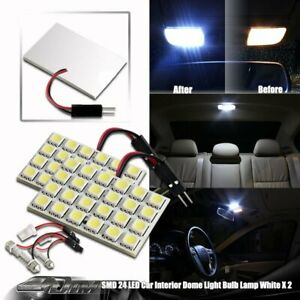 2x Bright White Smd 24 Led Dome Map Light T10 And Festoon Adapter Universal 6