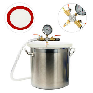 5 Gallon Vacuum Degassing Chamber Resin Silicone Epoxy Metal Extract Solvent New