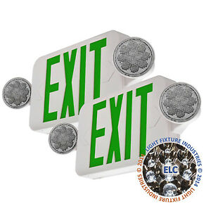 2pack Led Green Exit Sign Emergency Light Hi Output Compact Combo Ul Combogjr2