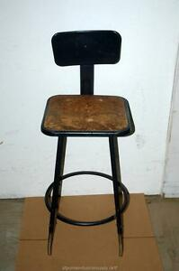 Industrial Machine Age Steam Punk Machinists Metal Shop Chair Stool Wood Seat
