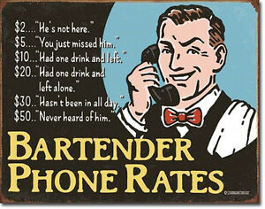 Bartender S Phone Rates Vintage Style Metal Signs Man Cave Garage Decor 69