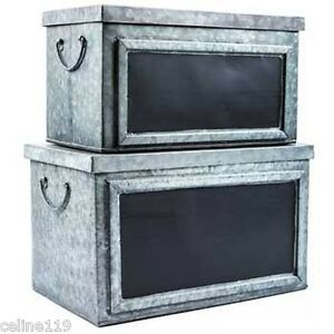 Country Farmhouse Galvanized Tin Box Set W Chalkboard Labels Home Organization