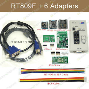 Rt809f Programmer With 6 Adapters Ic Clip Motherboard Vga Lcd Isp Reader Board