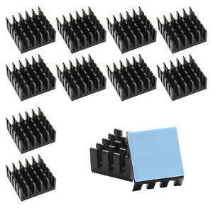 10pcs 22mm Black Heatsink Cooler With Thermally Heat Transfer Pad Ram Ic Diy Cpu