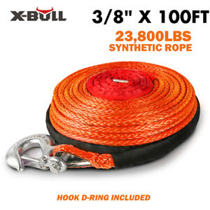 X bull 2 5 x100ft Synthetic Winch Rope Line Recovery Cable Grey 23000lbs 4wd