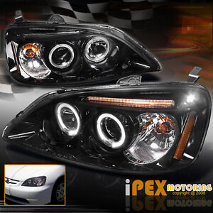 New For 2001 2003 Honda Civic 2dr 4dr Twin Halo Led Projector Headlights Black