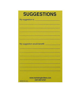 Marketing Holders Suggestion Box Cards 4 w X 6 h Yellow Pack Of 50 Wholesale