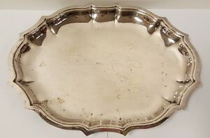 Vintage International Silver Co Pointed Scallop Edge Tray 11 X 9 25