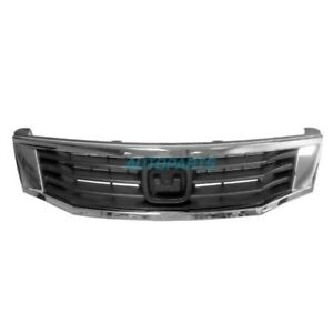 New Front Grille Frame Black W Chrome Fits 2008 2010 Honda Accord Ho1200222