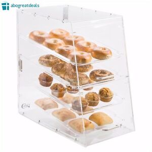 4 Tray Bakery Display Case Countertop Acrylic Clear Sliding Trays Magnetic Door