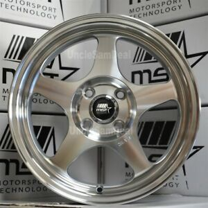 15 15x6 5 4x100 35 Offset Mst Mt29 Machine Silver 5 Spoke Tuner Wheels Set Of 4