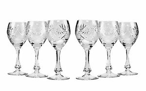 10 Oz Crystal Cut Wine Glasses Vintage Old fashioned Wine Goblets 6 piece Set