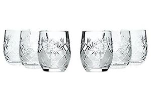 6 5 Oz Stemless Beverage Crystal Cut Glasses Vintage Whisky Tumblers 6 pc Set