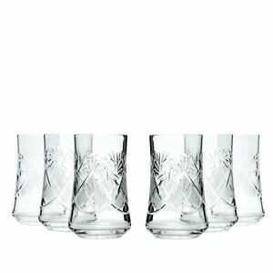 7 Oz Handmade Beverage Crystal Cut Glasses Vintage Whisky Tumblers 6 pc Set