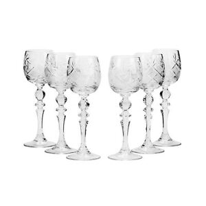 2 Oz Crystal Cut Sherry Glasses On Long Stem Vintage Cordial Glasses 6 pc Set