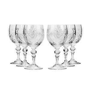 8 8 Oz Crystal Cut Wine Glasses Vintage Old fashioned Wine Goblets 6 pc Set