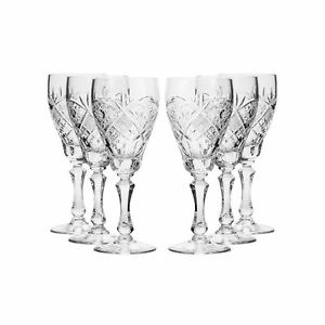 7 7 Oz Crystal Cut Wine Glasses Vintage Old fashioned Wine Goblets 6 pc Set