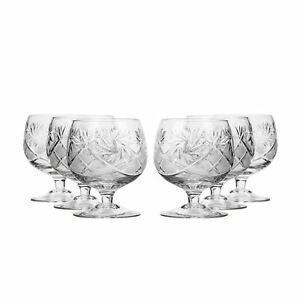10 Oz Crystal Cut Brandy Snifters Vintage Cognac Whisky Glasses 6 pc Set