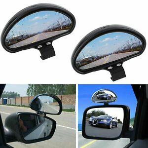 2x Convex Clip On Half Oval Rear View Conter Blind Spot Angle Auxiliary Mirrors