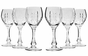 10 Oz Crystal Cut Wine Glasses On A Long Stem Classic Wine Goblets 6 piece Set