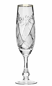 10 Oz Crystal Cut Champagne Flutes Vintage Champagne Glasses 6 piece Set