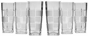 10 Oz Crystal Cut Beverage Glasses Vintage Highball Cocktail Glasses 6 pc Set