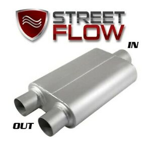 40 Series Flow Muffler 2 Chamber Single In Dual Out 3 In Dual 2 5 Outlet