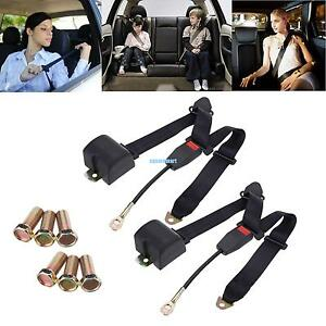 2pack 3 Point Safety Adjustable Adjust Seat Belt Lap Set Auto Car Universal