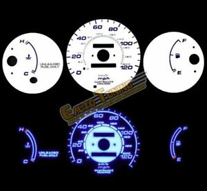 White Indiglo El Gauge Kit Glow Blue Reverse For 96 00 Honda Civic Mt W O Tach