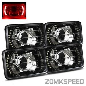 2 Sets 4x6 H4651 H4666 Semi Seal Red Led Black Crystal Projector Headlights