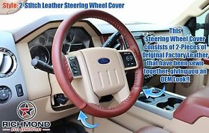 2011 2012 Ford F250 F350 King Ranch Leather Steering Wheel Cover 2 Stitch Style