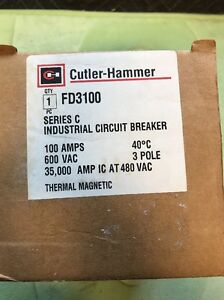Eaton Cutler Hammer Fd3100 100 Amp 3 Pole Industrial Circuit Breaker New In Box