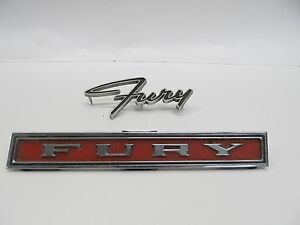 Lot Of 2 Vintage Plymouth Fury Emblems
