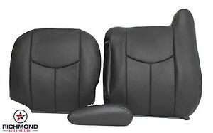 03 06 Chevy Avalanche 1500 Driver Side Complete Leather Seat Covers Dark Gray