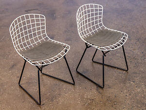 Pair Of Baby Harry Bertoia Wire Chairs For Knoll