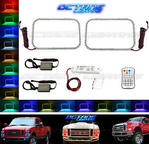 08 10 Ford F 250 Multi Color Changing Led Rgb Lower Headlight Halo Ring M7 Set