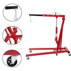 4400 Lbs 2 Ton Foldable Hydraulic Engine Hoist Shop Crane Jack Lift Heavy Duty