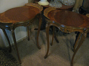 Beautiful Pair French End Or Side Tables Inlaid Wood Carved Sale