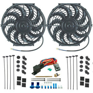 Dual 12 Inch Electric Fan 12v Cooling Radiator Relay Thermostat Switch Kit Car
