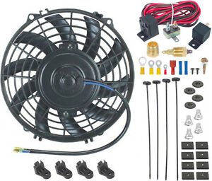 9 Inch Electric Fan 12v Radiator Cooling 3 8 Thread in Ground Thermostat Kit
