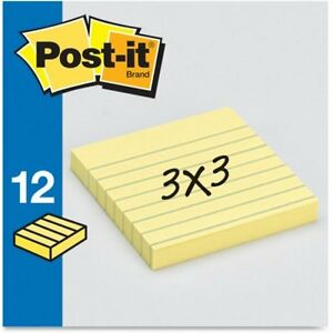 Post it Notes 3 In X 3 In Canary Yellow Lined W